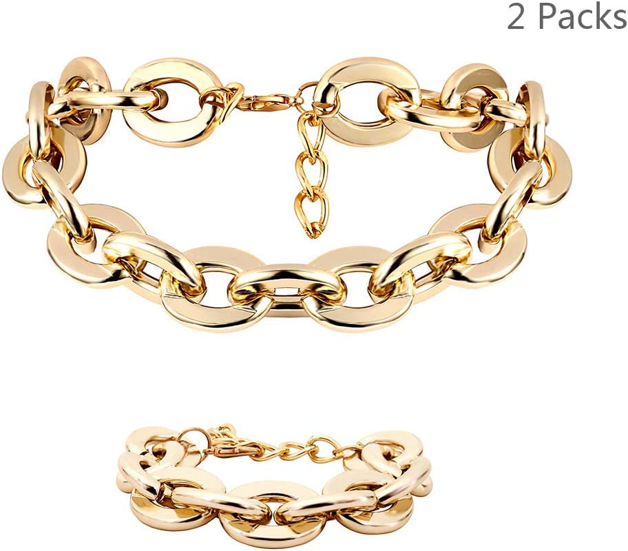Daimay Women's Alloy Choker Necklace Heavy Cuban Chunky Chain Punk Gothic Necklaces & Bracelet Set – Gold