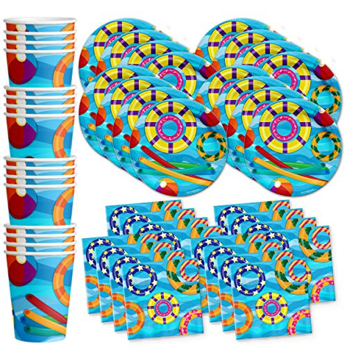 Pool Party Summer Splash Birthday Party Supplies Set Plates Napkins Cups Tableware Kit for 16 by Birthday Galore