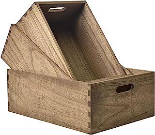 KIRIGEN 木箱 収納ボックス 大 3本セット ワイン木箱 キューブ おしゃれ 本箱 完成品 ブラウン