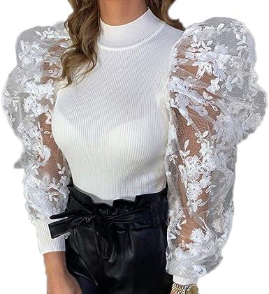 Slim Fit Camiseta Mujer, Manga Abullonada Blusa de Malla Moda ...