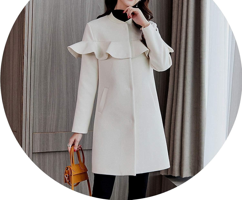 Sweet Loose Women Long Woolen Coat ONeck Covered Button Women's Jacket Ruffles Sollid Cashmere Coat and Jacket