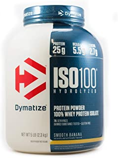 Dymatize ISO 100 Whey Protein Powder with 25g of Hydrolyzed 100% Whey Isolate, Gluten Free, Fast Digesting, Smooth Banana, 5 Pound