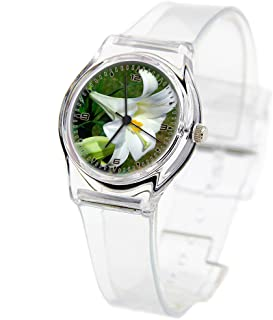 Personality Transparent Wristwatch Transparent Strap Summer Decoration Woman Child Teacher Teen Young Girls Children Kids Watches Colorful Flower-213.Flower, Easter, Lilly