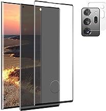 Galaxy Note 20 Ultra Screen Protector, [2 Pack+1Camera Lens Protectors] Privacy/HD Tempered Glass Film, [Fingerprint Unloc...