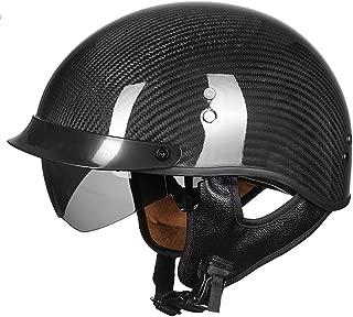 VCOROS Carbon Fiber Open Face Sun Shield Crusies Motorcycle Helmet Man Women Half Face Retro Helmets (Gloss Black, M)