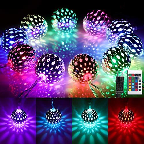 Marokkanische Kugel LED Lichterkette Außen, 16 Farben Orientalisch Bunt Lichterkette Kugeln RGB, 4M 20 LED Farbwechsel Lichterketten mit Stecker & Fernbedienung fur Weihnachten,Thanksgiving, Party