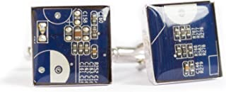 Dark Blue Circuit Board Cufflinks, recycled gift for computer geek