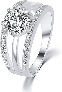 Guraxi Womens Platinum and Diamond Flower Rings