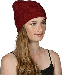 Thick Knit Soft Stretch Beanie Cap - Burgundy
