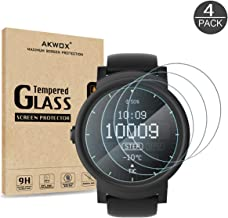 AKWOX (4-Pack) Tempered Glass Screen Protector for Ticwatch C2 / Ticwatch 2 Smartwatch, [0.3mm 2.5D High Definition 9H] Anti Scratch Screen Protector for Ticwatch 2 /Ticwatch C2