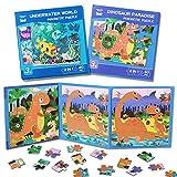 Toyssa Magnétique Puzzles Enfant 3 4 5 6 Ans Dinosaure Océan Voyage Livre Jeux Puzzles en Bois Jouets Montessori Educatif Apprentissage pour Garçons Filles