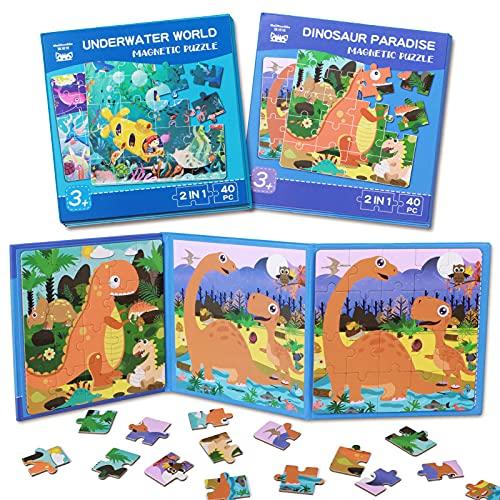 Toyssa Puzzle Magnético 3 4 5 6 años Niños Dinosaurios Oceano Puzzle de Madera Juguetes Viaje Puzzles Juguete Montessori Educativo