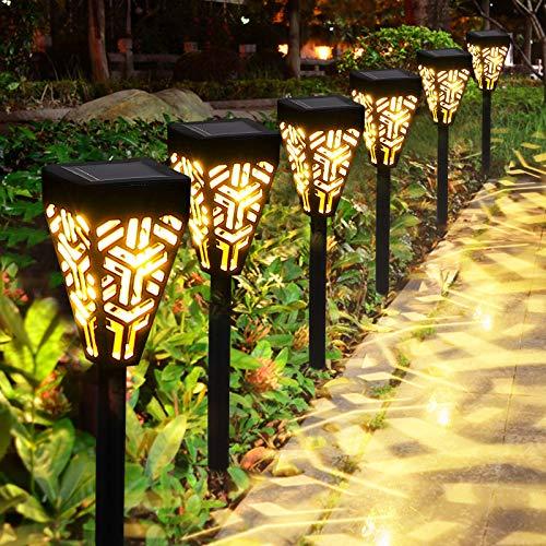 Solarleuchten Garten GolWof 6 Stücke Solarlampen für Außen Wasserdicht LED Solar Gartenleuchten Solar Wegeleuchte Dekorative Gartenlicht für Terrasse Rasen Gehweg Patio Camping - Warmweiße