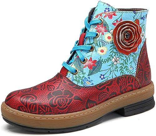 GDXH Nuevos schuhedamenes Stiefel de Cuero Tobillo Stiefel Bohemio Hecho a Mano Flor Empalme Cuero Cuero Cabeza rotonda Bordado en schuhe de Caminar al Aire Libre,A,39EU