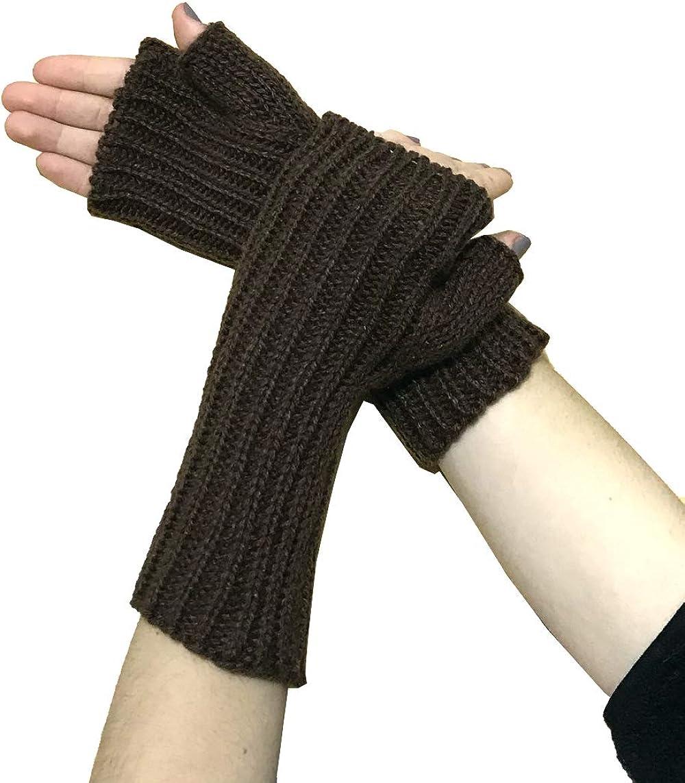 TINKUY PERU - Alpaca Wool Knit - Beanie Hat Skull Cap + Mittens Gloves Women's and Men's - Brown