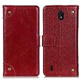 WRNM Caso Compatible con Nokia C01 Core C01 Plus Cobre Rivet Napa PU Cuero Back-Side Back-Side Magnet Flip Billet Funda con Stand & Tarjetas(Color:Vino Rojo)