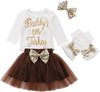 Newborn Infant Toddler Kid Thanksgiving Outfit Long Sleeve Fall Tutu Dress Outfit 4PCS Set