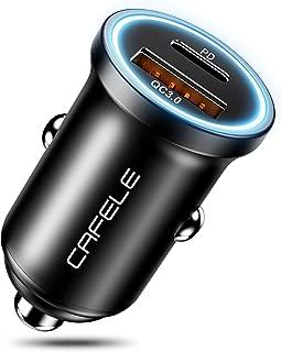 CAFELE PD QC 3.0 Car Charger 36W, Zinc Alloy Dual USB Car Charger Fast Car Charging Mini Flush Fit Compatible with Xs max/XR/x/7/6s, iPad Air 2/Mini 3, Note 9/Galaxy S10/S9/S8 (QC + PD USB Port)
