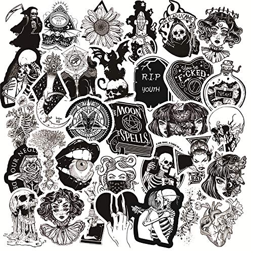 MNHG Laptop Stickers Anime Pack 50Pcs Black and White Punk Graffiti Stickers Car Motorcycle Travel Luggage Phone Guitar Skateboard Kid Cool Sticker Decal