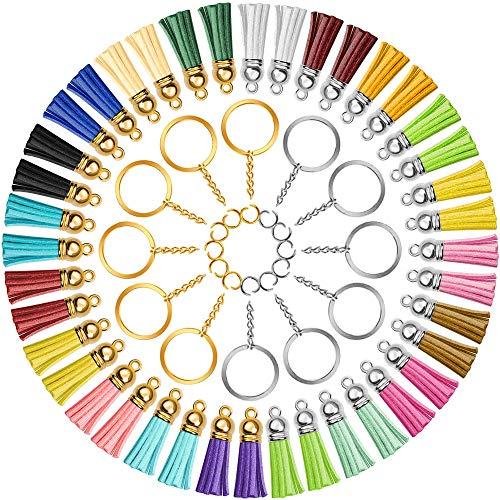 Tassels for Jewelry Making, Keychain Tassel Set Including 100pcs Tassels, 100pcs Open Jump Rings and 100pcs Key Rings with Chain Bulk, Velvet Tassel Keychain Charm for Keychain Crafts Jewelry Making