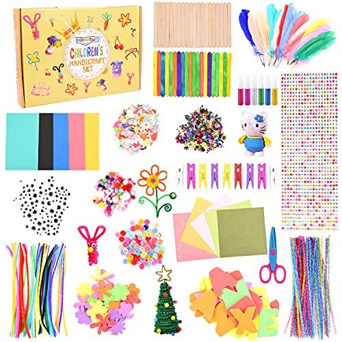 Herefun Kit Manualidades Niños, DIY Arts Crafts Juegos de Manualidades Manualidades Set, Art and Craft Supplies para niños Incluye Pompones, Ojos, Limpiadores de Pipa