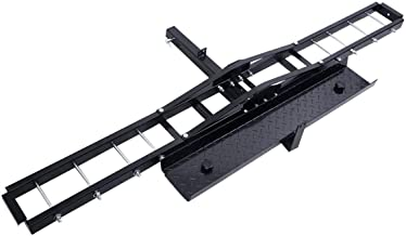 Goplus 500 lb Motorcycle Dirt Bike Scooter Carrier Hauler Hitch Mount Rack with Loading Ramp and Anti-Tilt Locking Device