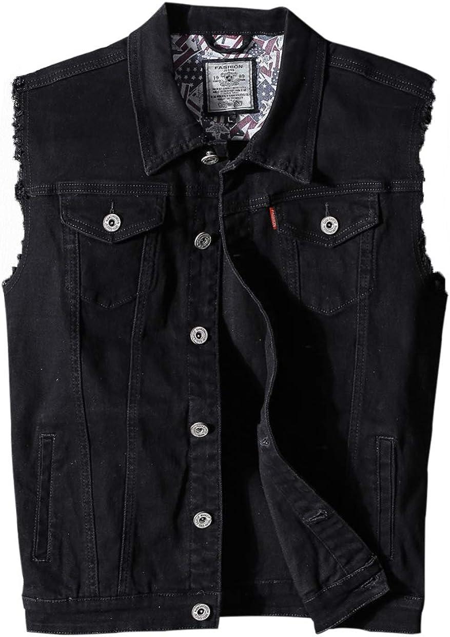 Heihuohua Men's Casual Button-Down Denim Vest Trucker Jean Jacket