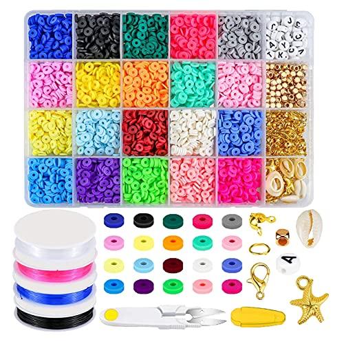 Harilla 1 caja de cuentas de arcilla polimérica, espaciador redondo y plano, cierre de cuentas con letras para joyería de bricolaje, collar, pulsera,