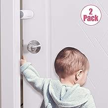 EUDEMON (2 Pack,White)Adjustable Door Guard Door Stop, Finger Pinch Guard,Revolving Door Stopper for Child Proofing, Pet Door Stopper,Easy to Install and Use 3M VHB Adhesive, no Tools Need