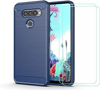 YZKJ Skal för LG Q70, silikon kolfiber TPU Cover skyddsskal [2 st] pansarglas skärmskydd för LG Q70 (6,4 tum) – blå