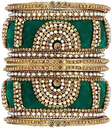 Aheli Faux Stone Studded Bangles Set Indian Traditional Bracelet Chudha Set Wedding Party Wear product image