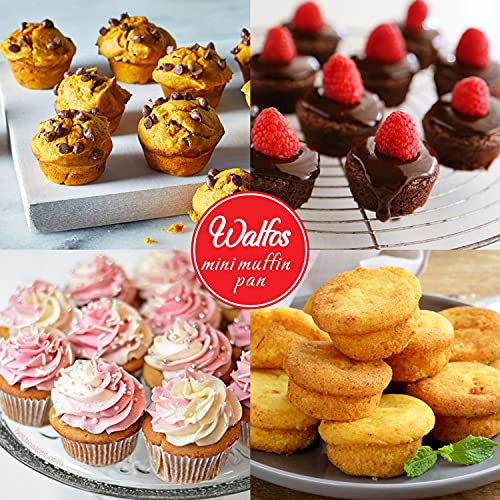 Walfos Mini Silicone Cupcake Pan Set, 2-Piece Mini 24 Cups Muffin Pan, BPA Free and Dishwasher Safe, Non-stick Silicone Baking Pan, Great for Making Muffin Cakes, Fat Bombs