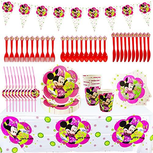 Set de Fiesta de Cumpleaños de Minnie, Cumpleaños Vajilla Set de Fiesta Kids Birthday Mickey, Plato, Servilleta de Papel, Cuchillo, Tenedor, Taza, Mantel, Paja para Niños Baby Shower