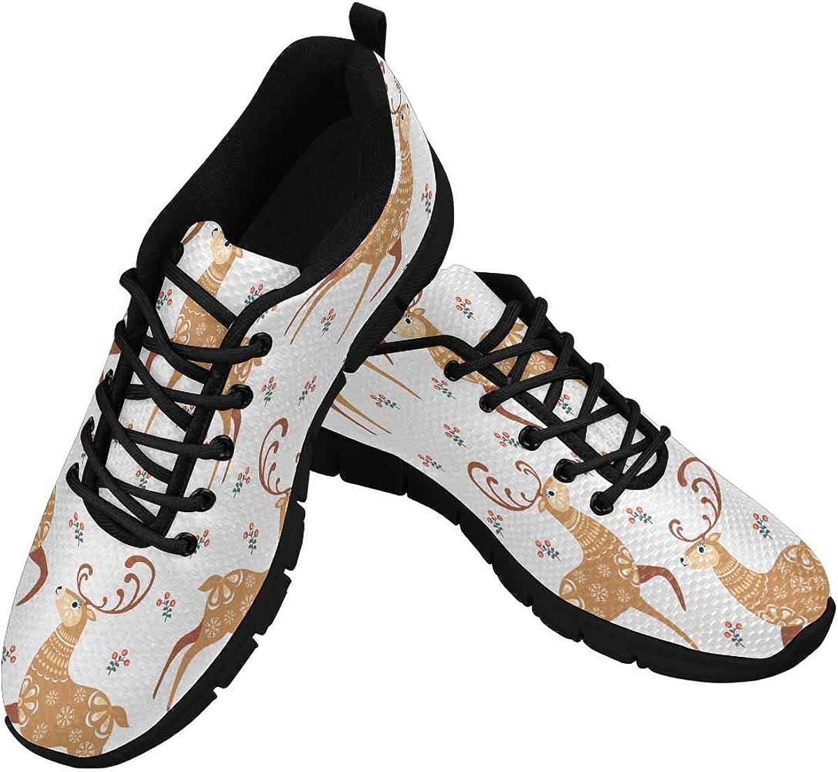 INTERESTPRINT Pattern in Folk Style with Deer Women's Athletic Mesh Breathable Casual Sneaker