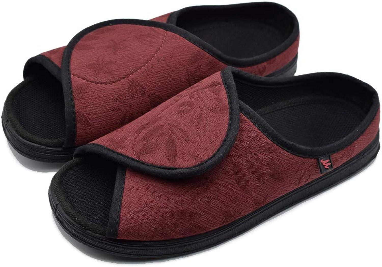 Mei MACLEOD Extra Wide Width Peep Toe Adjustable Closures Slippers,Mother Elderly Sandals