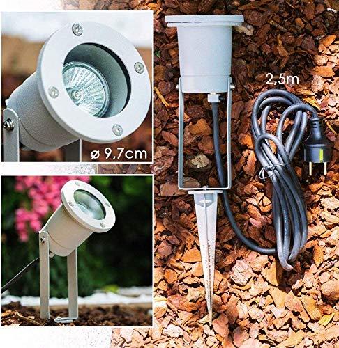 Tuinspots - LED-verlichting voor de tuin, het terras, de buitenruimte, het perceel - Tuinspots met Schuko-stekker - Aluminium lamp - Tuinstekker