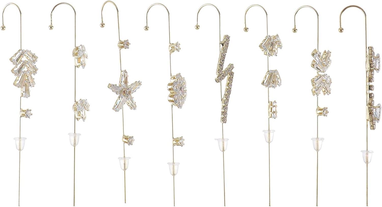 generic 8PCS Ear Cuff Crawler Hook Earrings Rhinestone Ear Wrap Piercing Stud Earrings for Women Wedding Birthday