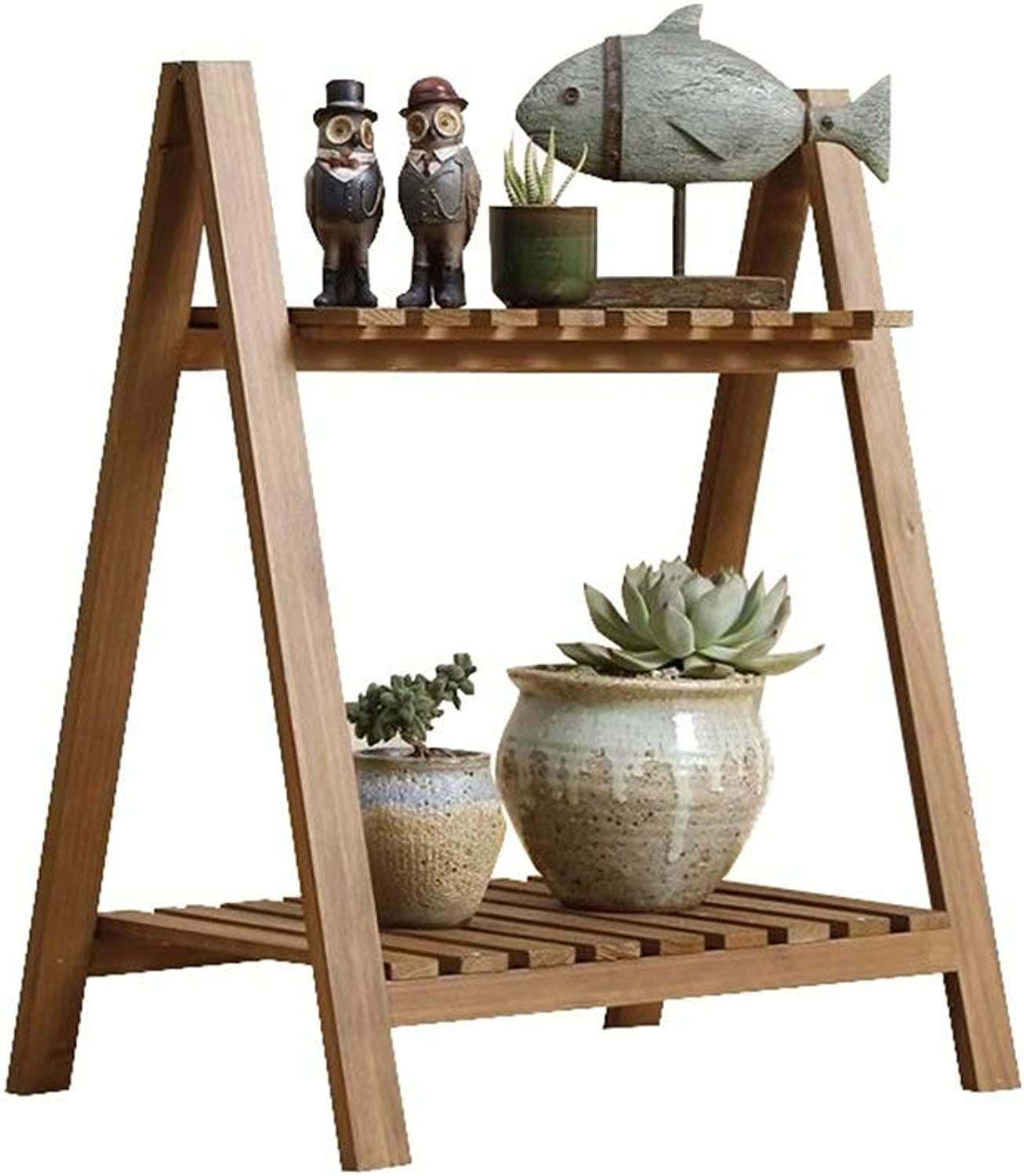 Plant stand Simple Flower Stand Wooden 2 Tier Succulents Rack Small Potted Shelf Chlgoldphytum Bedroom Living Room Vintage Brown Indoor Outdoor Size L50 Cm X W33 Cm X H59 H18.5 Cm Flower pot flower dis