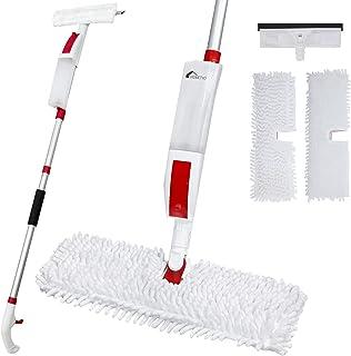 Venetio Premium Spray Mop Window Squeegee with Scrubber 2 in 1 Combo, with 2 Replacement Floor Refills, 400ml(14 Oz) Water...