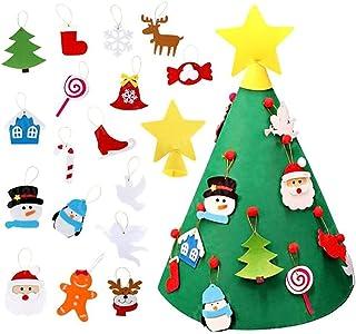 aipipl Arbre de Noël DIY Ornements Arbre de Noël en Feutre 3D DIY avec Ornements Suspendus Cadeaux de Noël pour Enfants Dé...