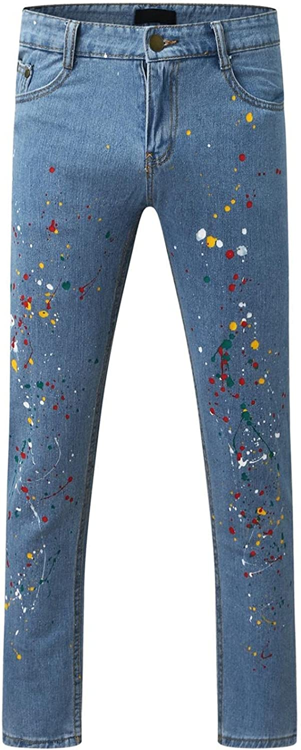 FUNEY Men's Classic Straight Fit Jean Casual Printed Stretch Relaxed Fit Biker Bootcut Jeans Vintage Mid-Waist Denim Pants