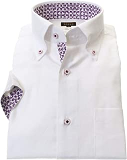 ワイシャツ 半袖 メンズ STYLE WORKS スタイルワークス 綿 100% ホワイト ボタンダウン 半袖 ドレスシャツ カッターシャツ シャツ 柄シャツ 派手シャツ|RWN101-002