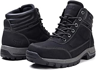 STQ Winter Boots for Men Slip Resistant Lace up Insulated Work Boots with Fur Black 7
