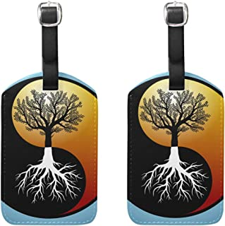 MASSIKOA Tree and It's Roots in Yin Yang Symbol Cruise Luggage Tags Suitcase Labels Bag,2 Pack