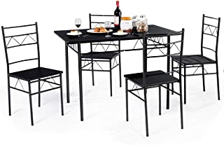 Giantex 5 PCS Dining Table and Chairs Set, Wood Metal Dining Room Breakfast Furniture Rectangular Table with 4 Chairs, Black (Style 3)