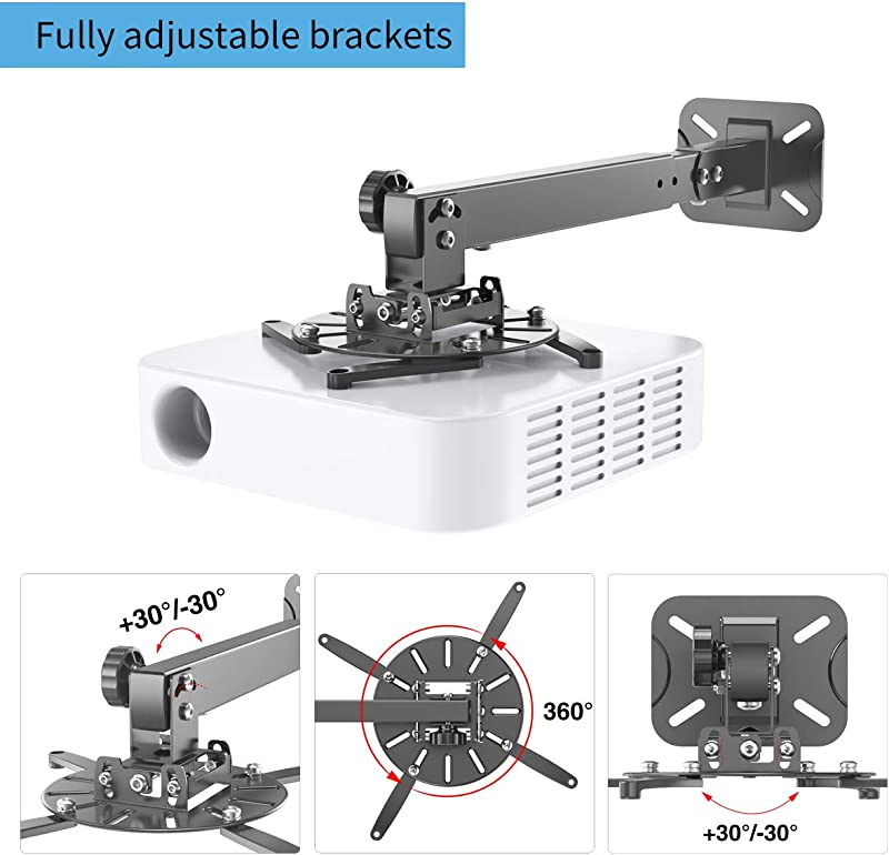 Gibbon Mounts Universal Projector Ceiling Mount Wall Mount Bracket with Extendable Pole Length