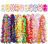 Hawaiian Luau Party Supplies-Hawaiian Leis(60Ct) with Hawaiian Flower Hair Clips(20pcs), Perfect for Your Hawaii Luaus,Tropical or Beach Themed Party