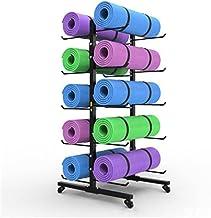 ZDAMN Yoga Mat Opbergrek Yoga Mat Rack Vloer Vrijstaande Metalen Fitness Gear Foam Roller Houder Organizer Houdt 10 Oefeni...