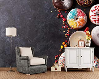 ZDBWJJ Pastry Donuts Coffee Candy Cup Baking Food 3D Wallpaper Living Room Sofa TV Wall Kitchen bar Cafe Bakery murals -200cmx140cm