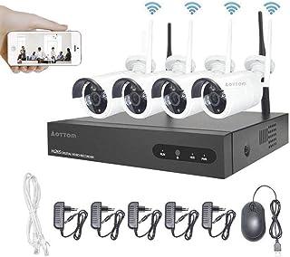 Kit de Vigilancia de Video WiFi Aottom 1080P 4CH Kit de Seguridad inalámbrica 4 Camaras, Sistemas Cámaras de Seguridad, Visión Nocturna, Detección Movimiento, Email Alarmas, App Android/iOS, sin HDD